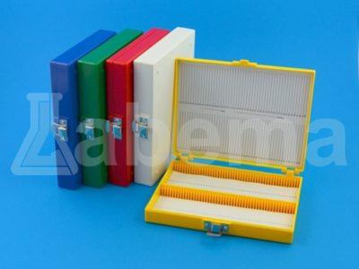 Pudełko na szkiełka mikroskopowe z piankowym wkładem, 100-miejscowe