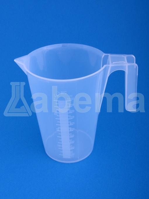 Zlewka plastikowa (PP) z uchwytem, skala tłoczona